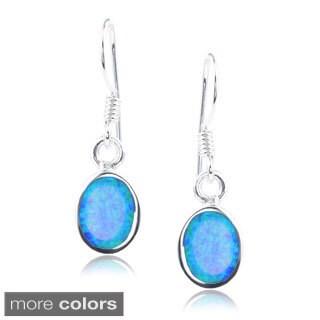 Journee Collection Sterling Silver Opal Oval Dangle Earrings