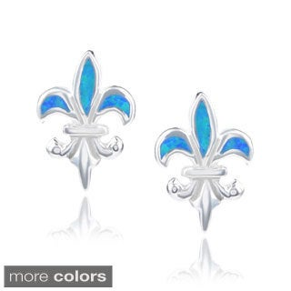 Journee Collection Sterling Silver Opal Fleur-de-lis Stud Earrings