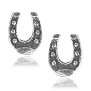 Journee Collection Sterling Silver Horseshoe Stud Earrings