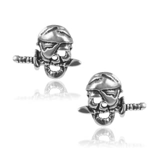 Journee Collection Sterling Silver Pirate Skull Stud Earrings