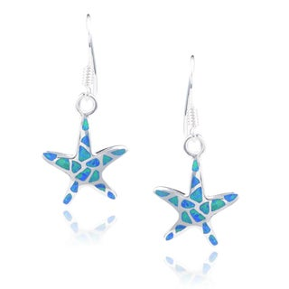Journee Collection Sterling Silver Created Opal Starfish Dangle Earrings