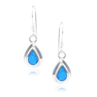 Journee Collection Sterling Silver Opal Tear Drop Dangle Earrings