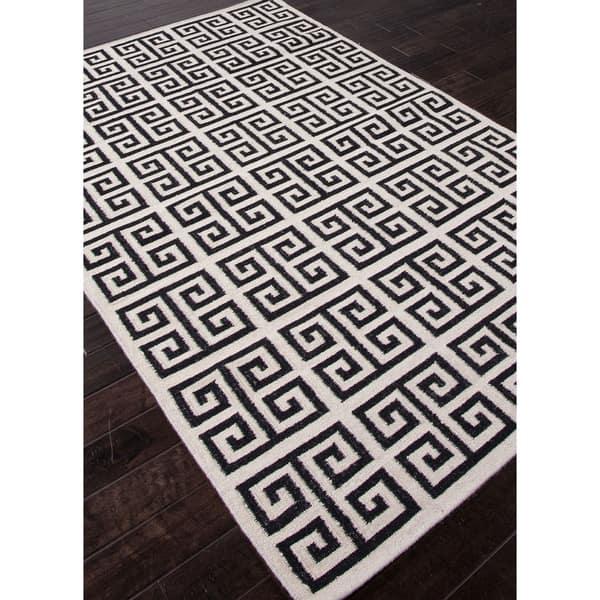 Greek Key Geometric White Black Wool