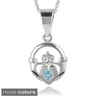 Journee Collection Sterling Silver Gemstone Claddah Pendant