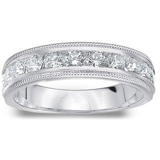 Amore Platinum 1ct TDW Diamond Milgrain Wedding Band