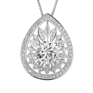Charles & Colvard 14k White Gold 3.45 TGW Round Forever Brilliant Moissanite Fashion Pendant