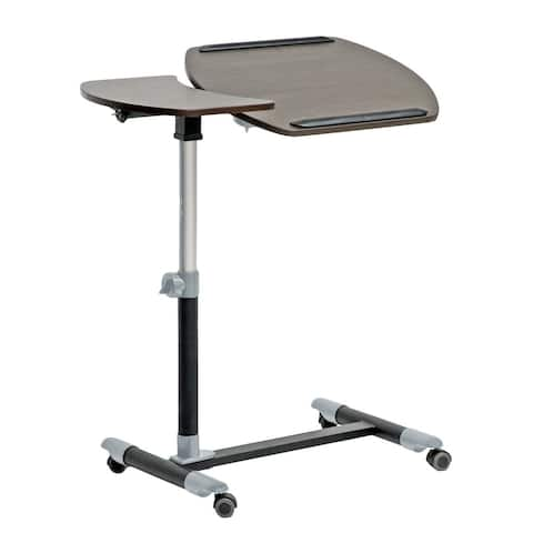 Modern Brown Wheeled Laptop Tray Table with Tilt Control