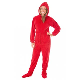 Adult Red Plush Drop Seat Hooded Footed Pajamas