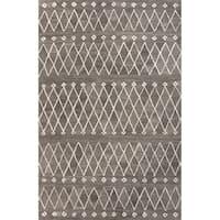 Atlas Handmade Geometric Gray/ White Area Rug (2' X 3') - 2' x 3'
