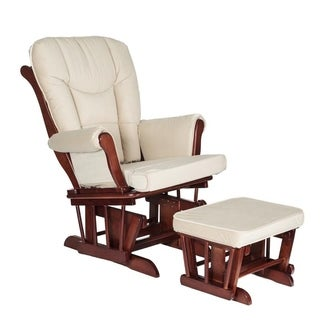 Mikaila Sleigh Cherry Wood Glider and Ottoman