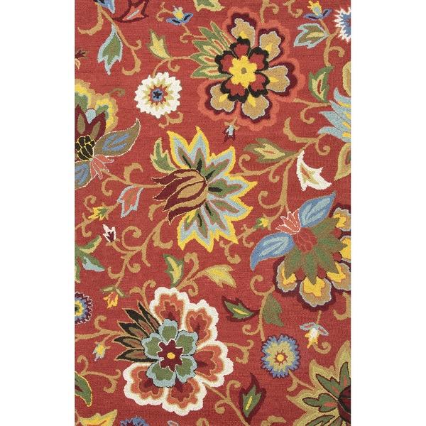 Santiago Handmade Floral Red/ Multicolor Area Rug (8' X 10') - 8' x 10'
