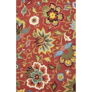 Hand Tufted Floral Pattern Red/ Blue Wool Area Rug (8' x 10')