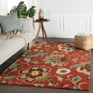 Hand Tufted Floral Pattern Red/ Blue Wool Area Rug (5' x 8') (India)