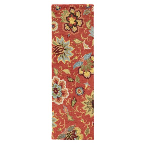 "Santiago Handmade Floral Red/ Multicolor Area Rug (2'6"" X 8') - 2'6"" x 8' Runner"