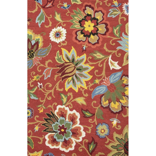Shop Santiago Handmade Floral Red Multicolor Area Rug 3