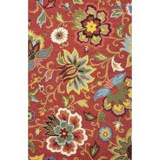 """Santiago Handmade Floral Red/ Multicolor Area Rug (3'6"""" X 5'6"""")"""