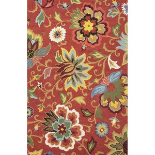 Hand Tufted Floral Pattern Red/ Blue Wool Area Rug (2' x 3')