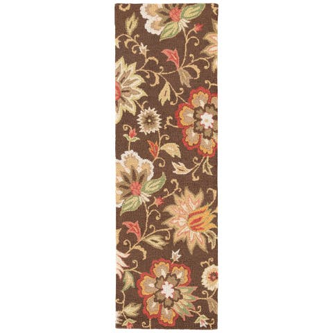 "Santiago Handmade Floral Brown/ Multicolor Area Rug (2'6"" X 8') - 2'6"" x 8' Runner"