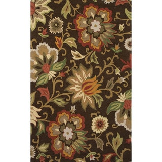 Indo Hand-tufted Floral Brown/ Multi-colored Wool Area Rug (8' x 10')