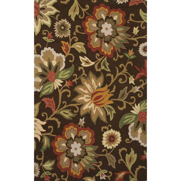 Hand Tufted Floral Pattern Brown Multi Wool Area Rug 3 6