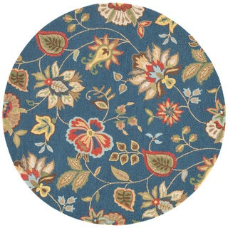 Hand Tufted Floral Pattern Blue/ Multi Wool Area Rug (8' x 8')
