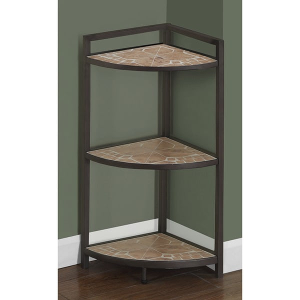 Terracotta Tile Top/ Hammered Brown 30-inch Corner Etagere ...