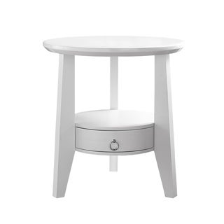 Dia 23-inch White 1-drawer Accent Table
