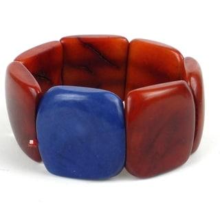 Sunset Orange Accented Tagua Bracelet (Ecuador)