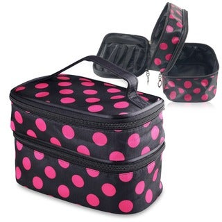 Zodaca Dual-layered Polyester Portable Hanging Zipper Cosmetic Bag