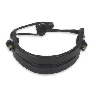 Men's Leather 'Perseverance in Black' Bracelet (Ghana)