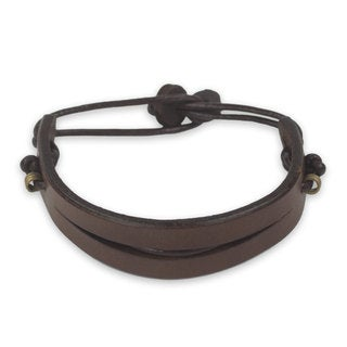 Men's Leather 'Perseverance in Brown' Bracelet (Ghana)
