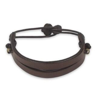 Men's Leather 'Perseverance in Brown' Bracelet (Ghana)
