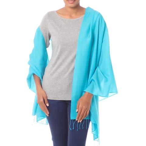 Handmade Silk Wool 'Turquoise Impression' Shawl (India)