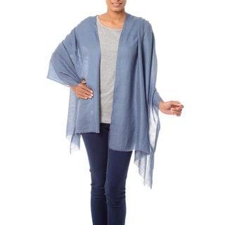 Handmade Wool 'Blue Grey Allure' Shawl (India)