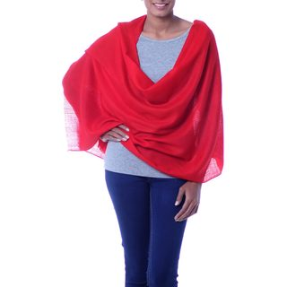 Handcrafted Wool 'Red Allure' Shawl (India)