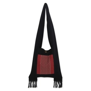 Handcrafted Cotton 'Thai Crimson' Bag (Thailand)