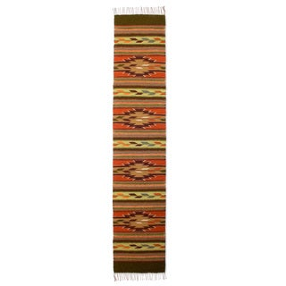 Handcrafted Zapotec Wool 'Autumn Leaves' Runner Rug (Mexico) - 1.5x6