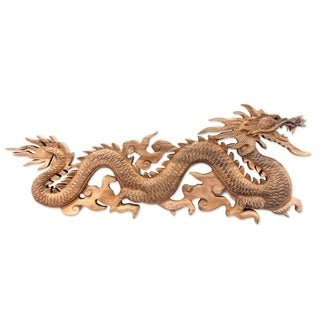 Baru Klinthing Dragon Traditional Artisan Handmade Hand Carved Home Decor Accent Desk Gift Brown Wood Sculpture (Indonesia)