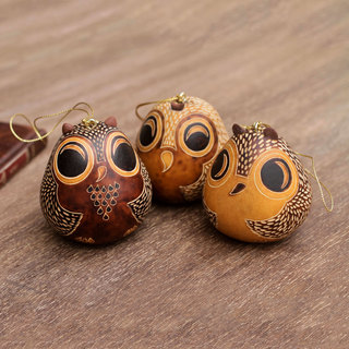 Set of 3 Mate Gourd 'Brown Owls' Ornaments (Peru)