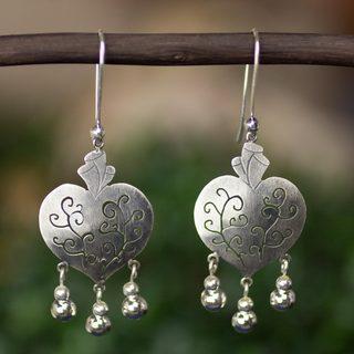 Handmade Sterling Silver 'Depth of Heart' Earrings (Mexico)