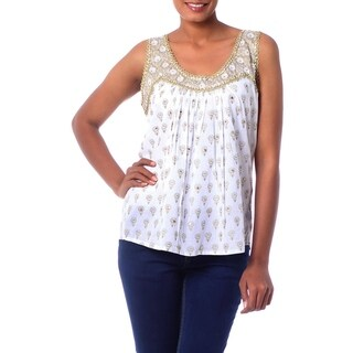 Golden Glamour 100% Cotton White Gold Block Print Sleeveless Scoop Neck Zari Embroidery Sequin Bead Womens Blouse Top (India)
