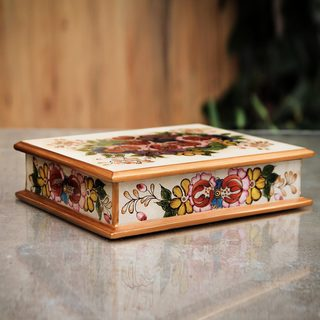 Handcrafted Glass 'Cajamarca Blossoms' Jewelry Box (Peru)