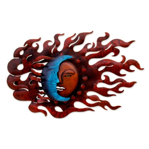 High Wind Eclipse Indoor Outdoor Decorator Accent Brown and Blue Painted Iron Sun and Moon Metal Wal