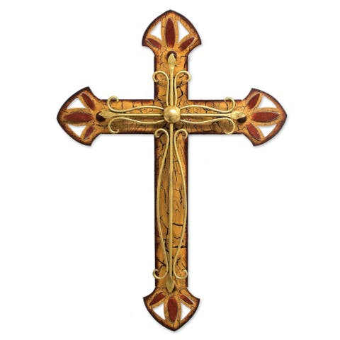 Handmade Iron 'Vintage Cross' Wall Sculpture , Handmade in Mexico