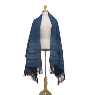 Handmade Zapotec Cotton 'Blue Zapotec Treasures' Rebozo Shawl (Mexico)