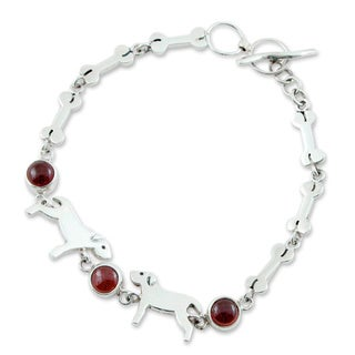 Sterling Silver 'Pampered Puppy Dog' Garnet Bracelet (Mexico)