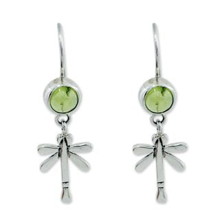 Handmade Sterling Silver 'Mexican Dragonfly' Peridot Earrings (Mexico)