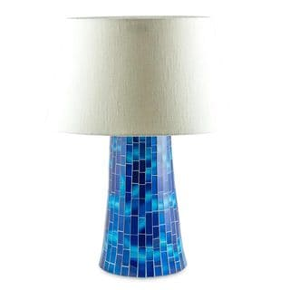 Handcrafted Glass Mosaic 'Moody Blue' Table Lamp (Mexico)