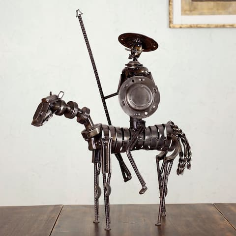 Handmade Auto Parts 'Rustic Heroic Quixote' Sculpture (Mexico)