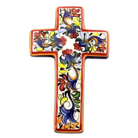 Handcrafted Ceramic 'Floral Faith' Cross (El Salvador)